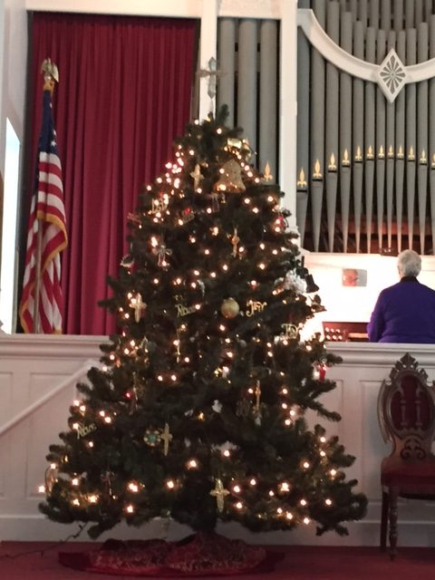 Christmas Tree At The Front Of The Sanctuary