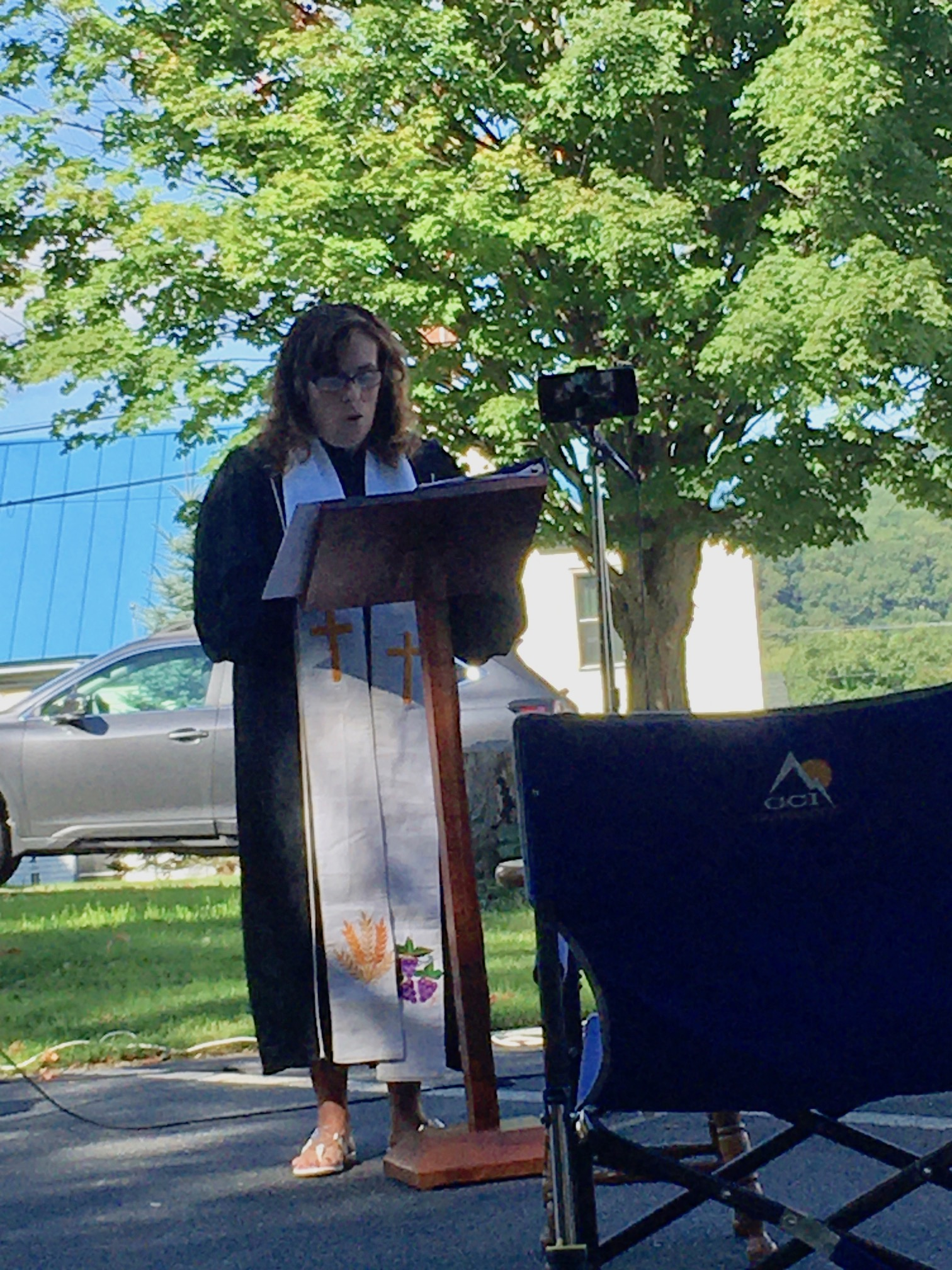 Rev. Kirsty Celebrates Parking Lot Worship